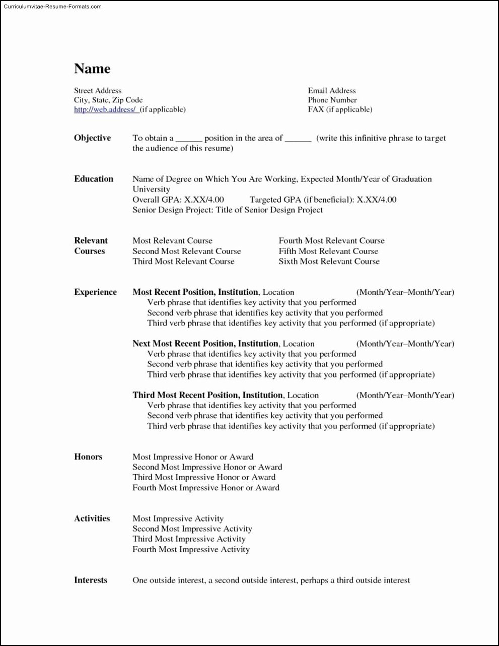 Free Microsoft Word Resume Template Free Samples