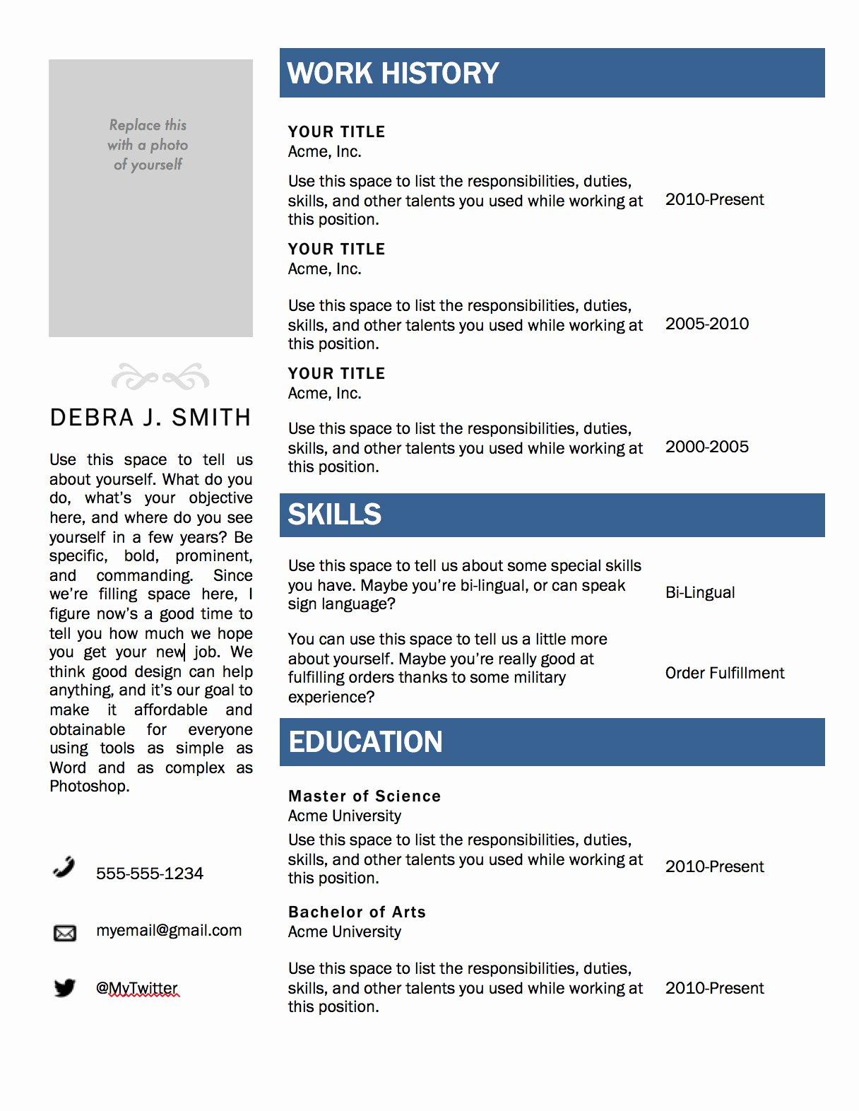 Free Microsoft Word Resume Template — Superpixel