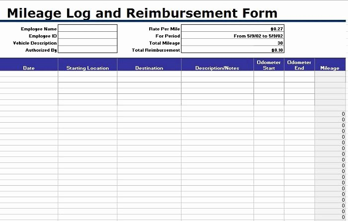 Free Mileage Log Templates Word Excel Template Section