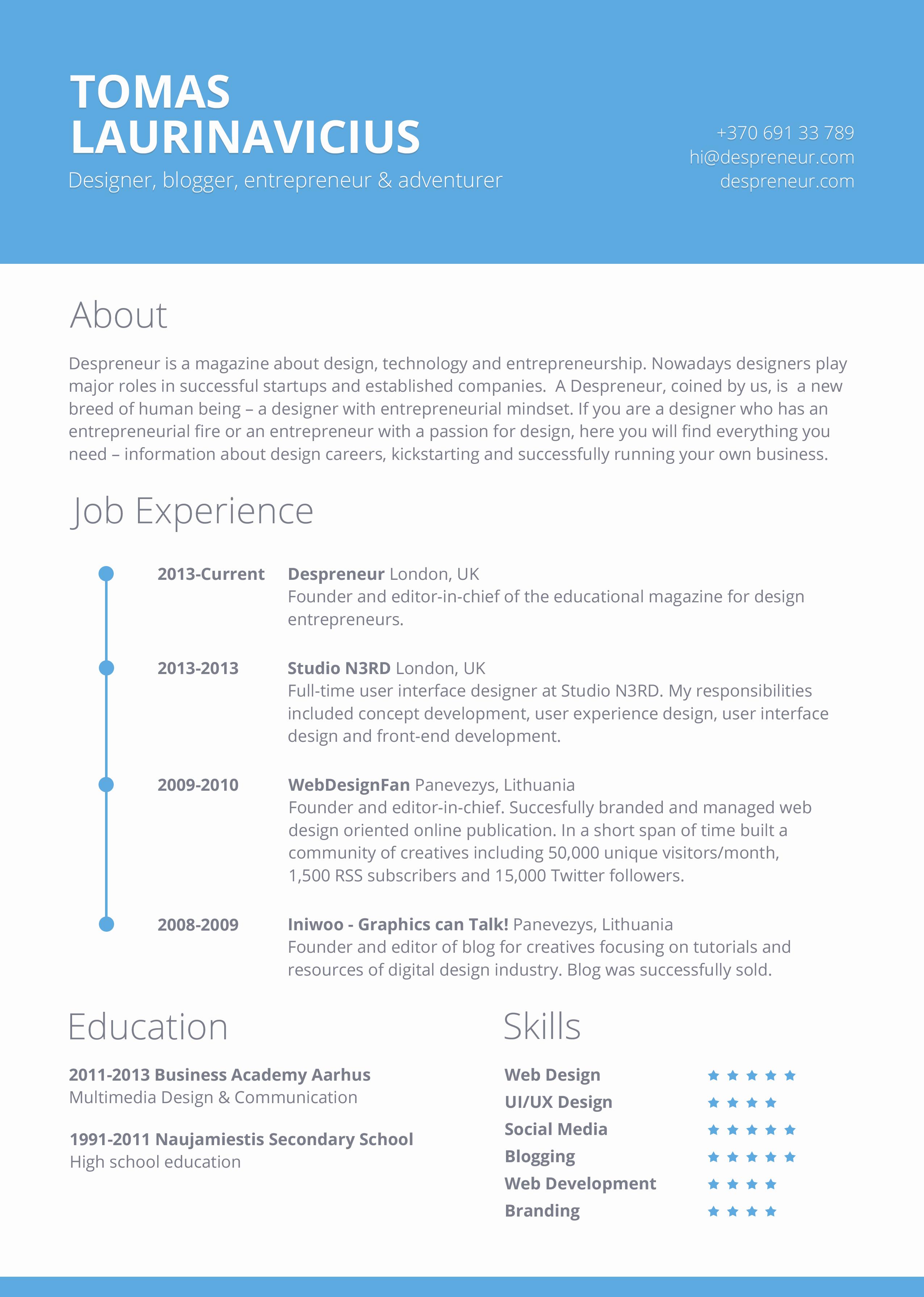Free Minimal Resume Psd Template