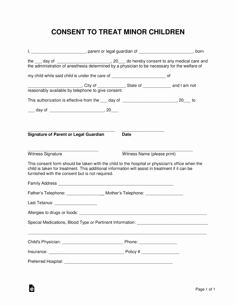 Free Minor Child Medical Consent form Word
