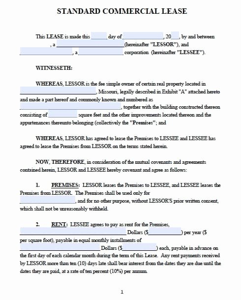 Free Missouri Mercial Lease Agreement – Pdf Template