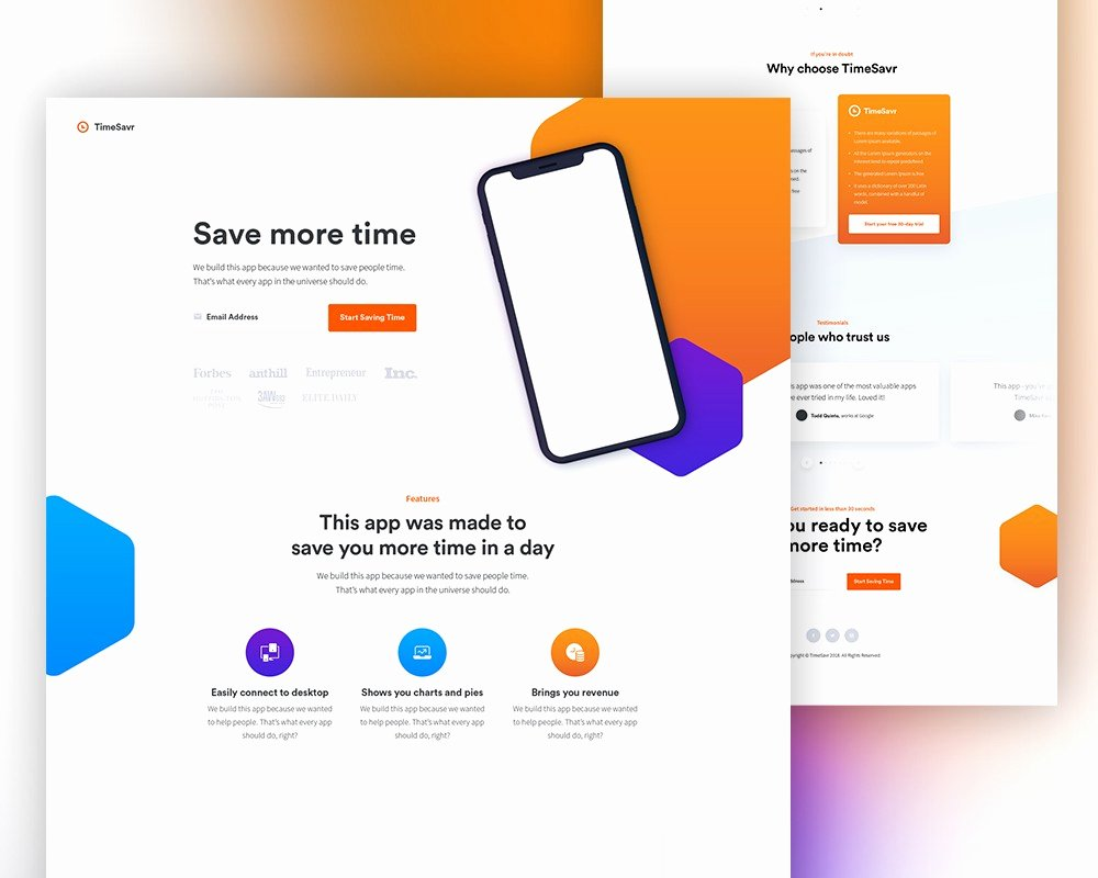 Free Mobile App Landing Page Template Psd Download