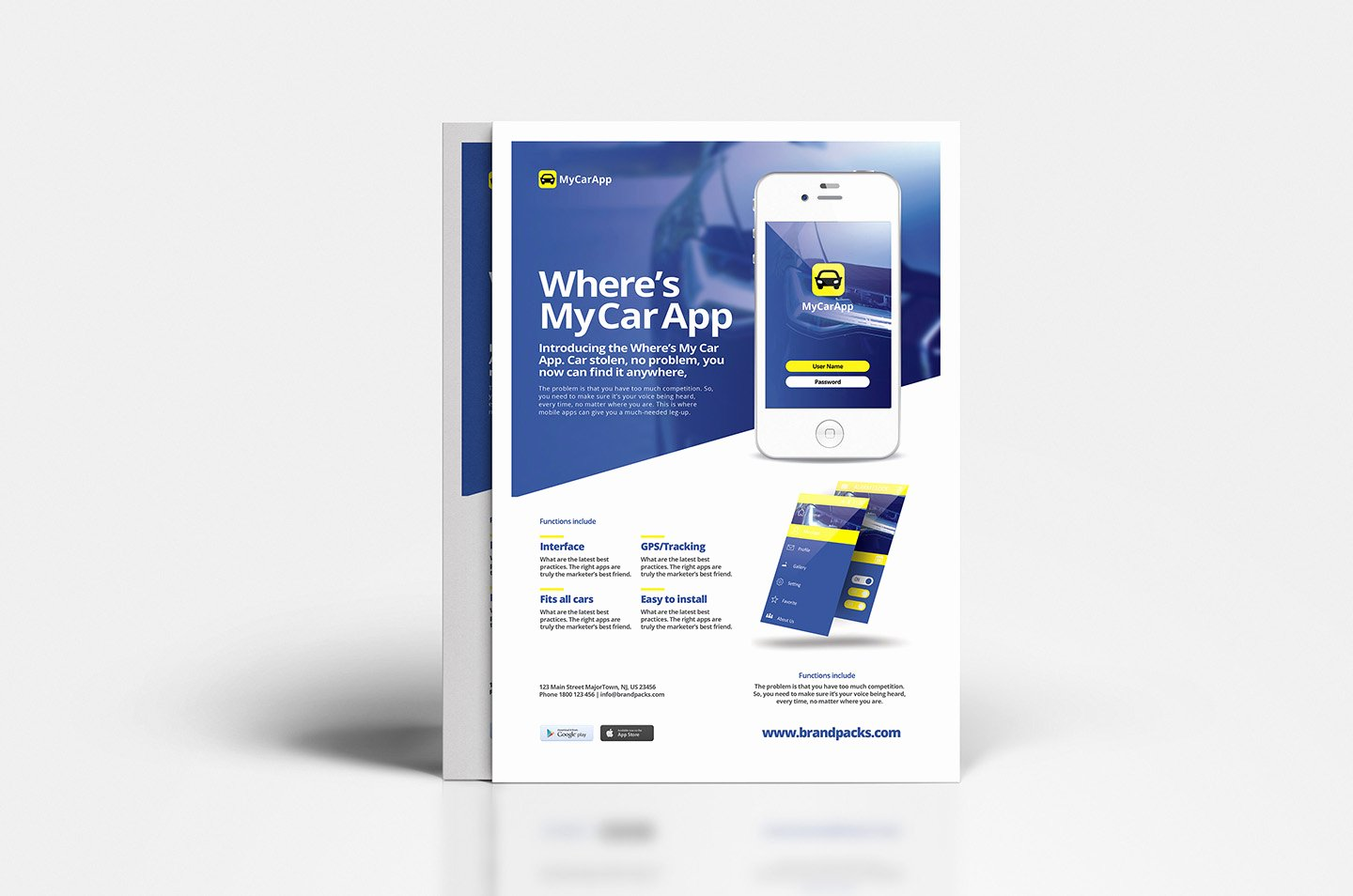 Free Mobile App Poster Template V2 Brandpacks