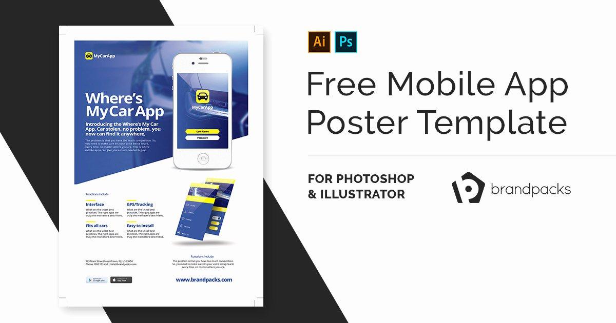 Free Mobile App Poster Template V2 Brandpacks
