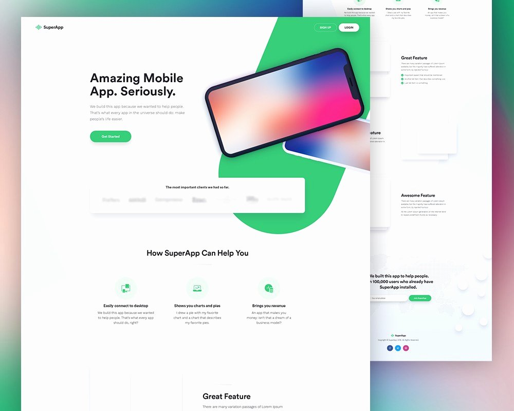 Free Mobile App Website Template Psd Download Download Psd