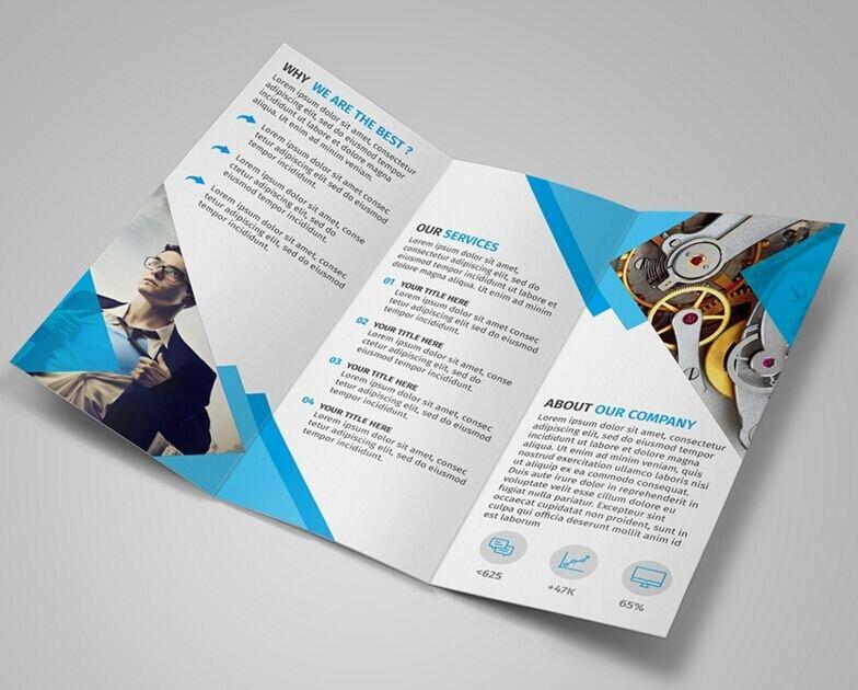 Free Modern Blue Tri Fold Brochure Template Psd