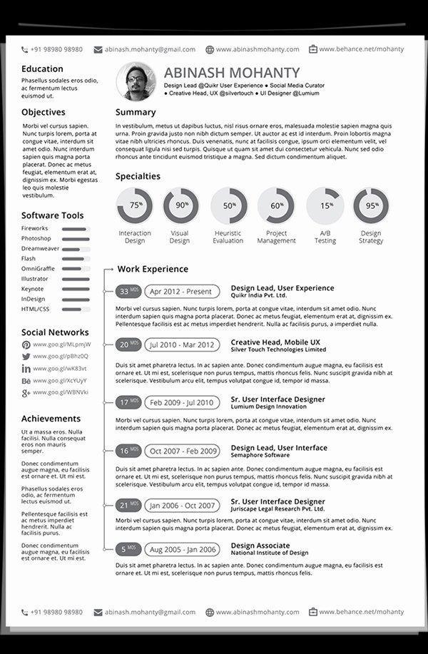 Free Modern Resume Templates & Psd Mockups