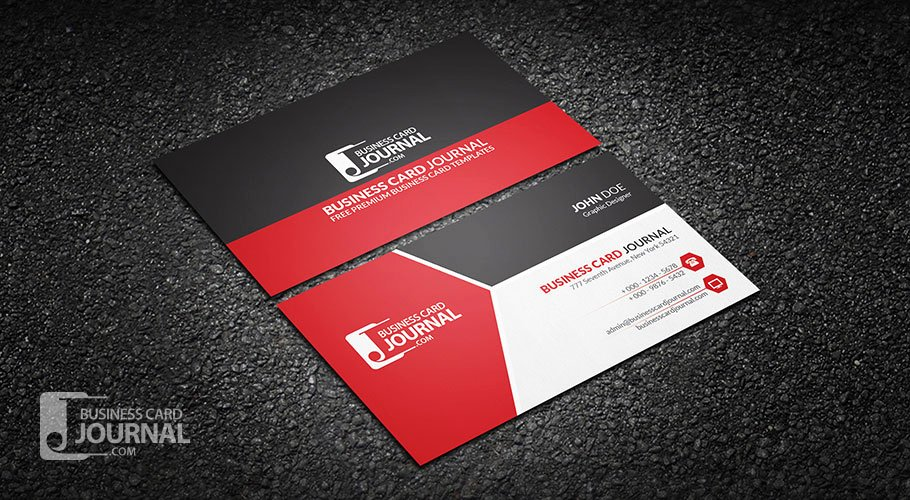 Free Modern Tricolor Business Card Template for Professional