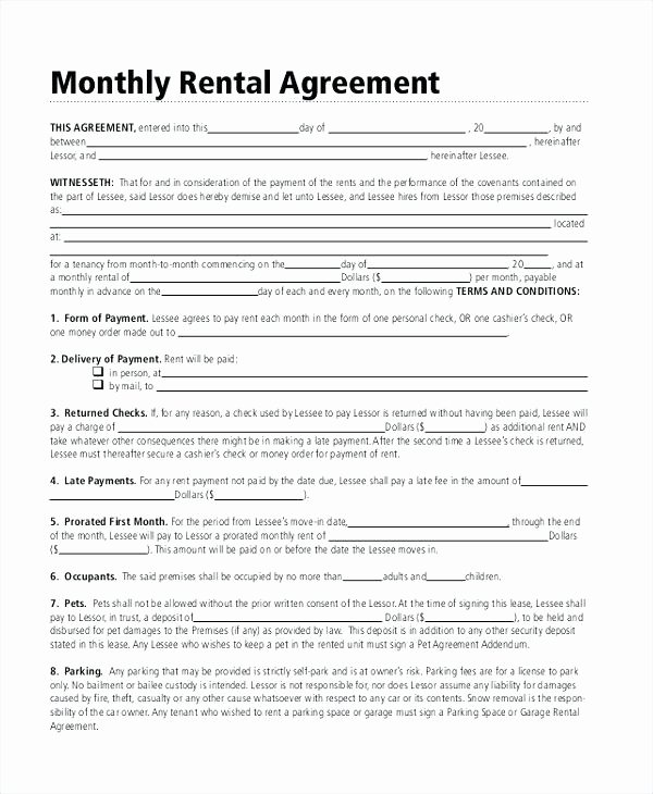 Free Month to Rental Lease Agreement Templates Word In