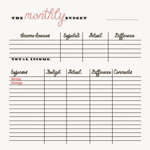 Free Monthly and Bi Weekly Bud Printables