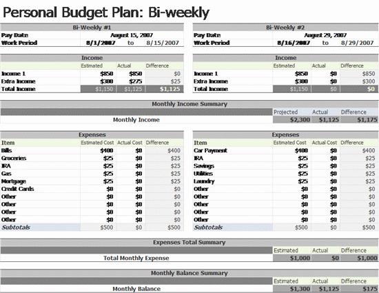 Free Monthly Bud Printable Worksheet