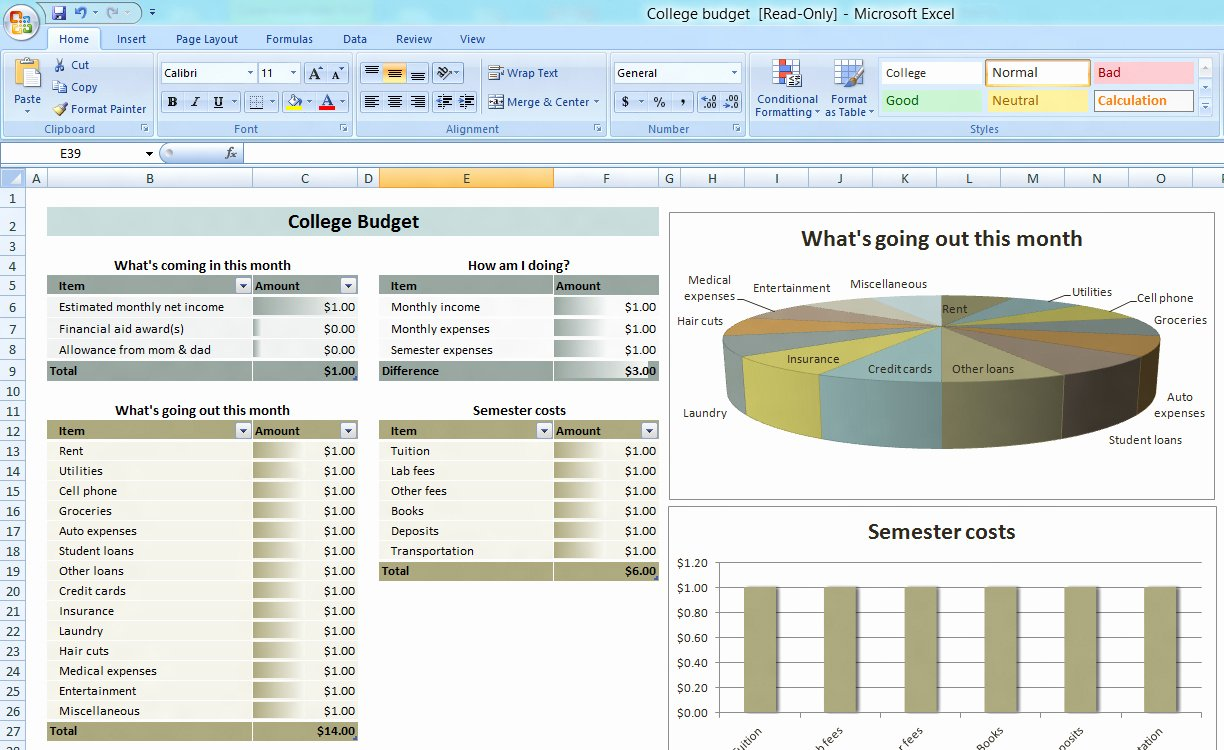 Free Monthly Bud Spreadsheet Template Monthly