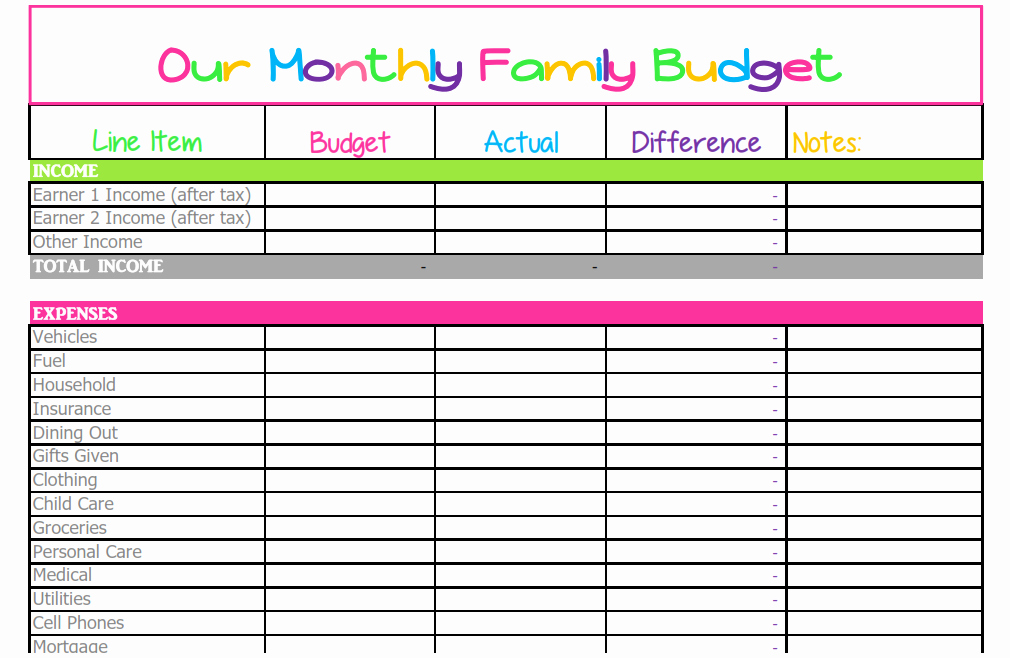 Free Monthly Bud Template Cute Design In Excel