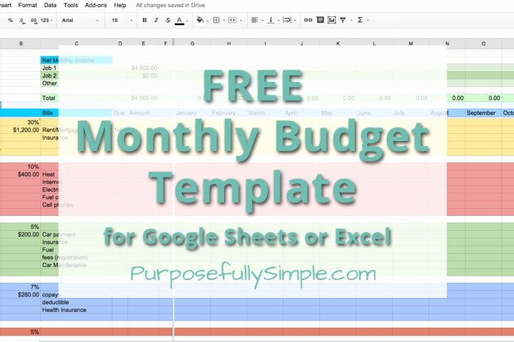 Free Monthly Bud Template Purposefully Simple
