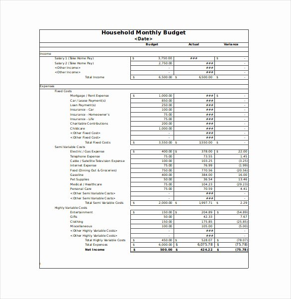 Free Monthly Household Bud Worksheet Excel Monthly