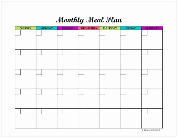 Free Monthly Meal Planner Printable Calendar Template for
