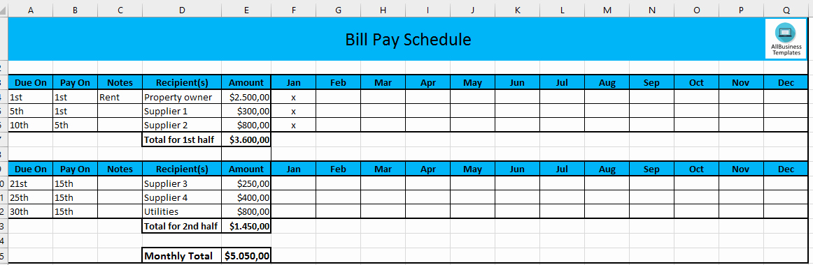 Free Monthly Payment Schedule In Excel