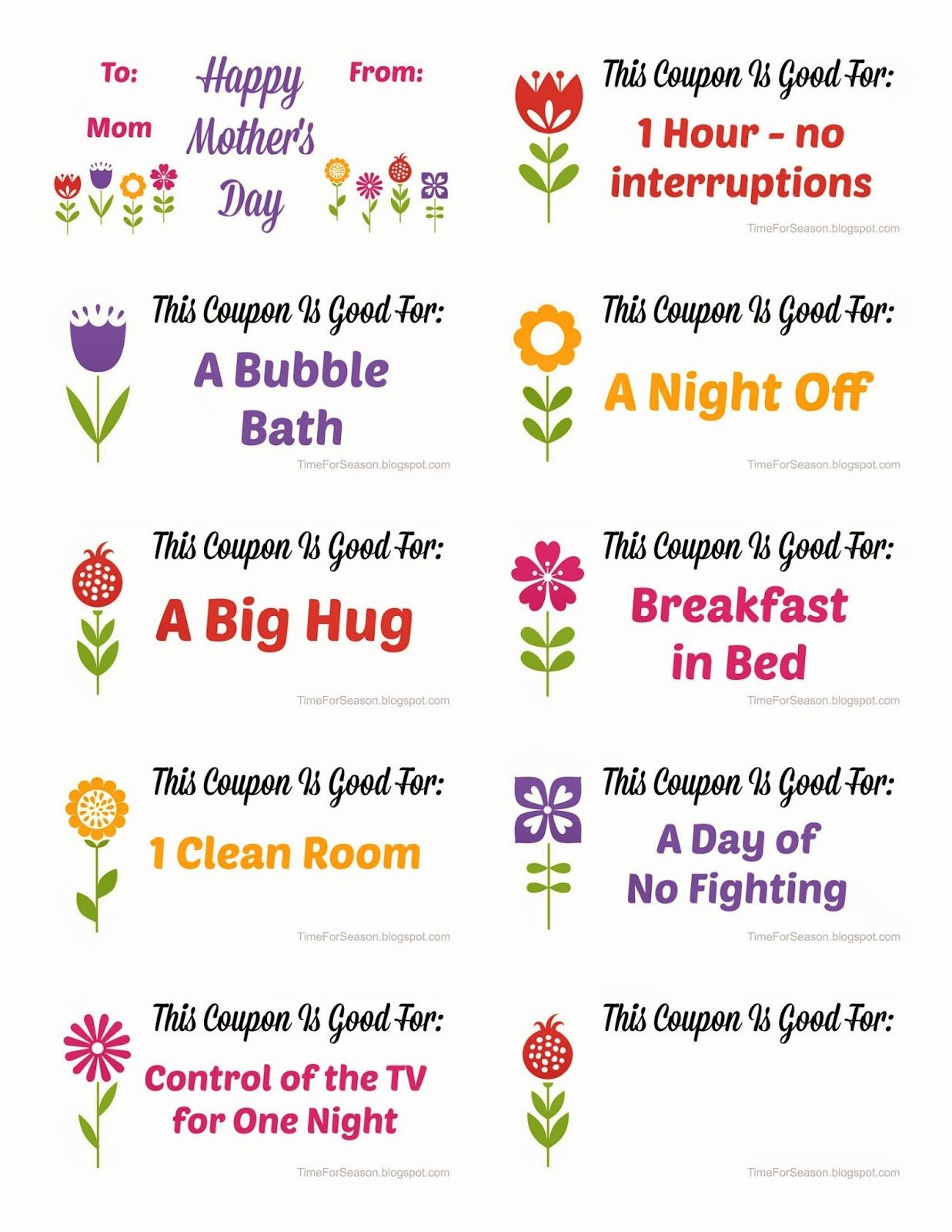Free Mother S Day Coupon Book Printable