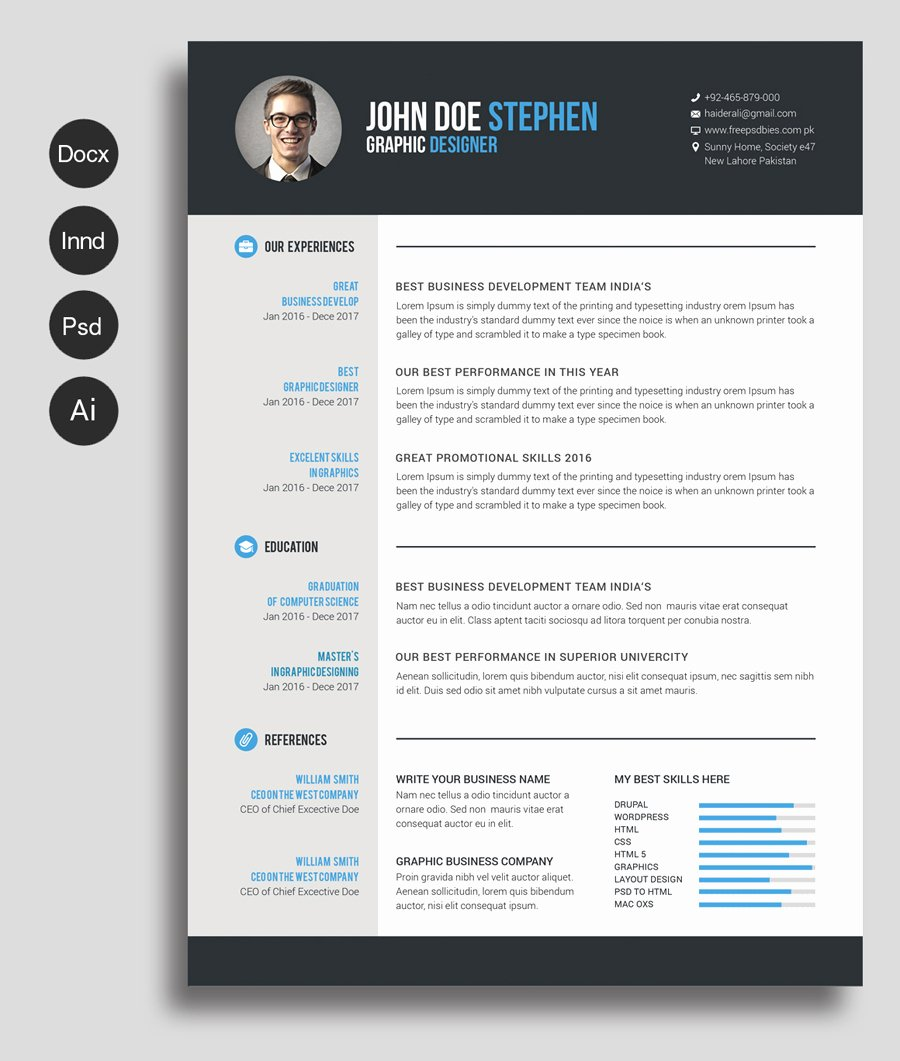 Free Ms Word Resume and Cv Template — Free Design Resources