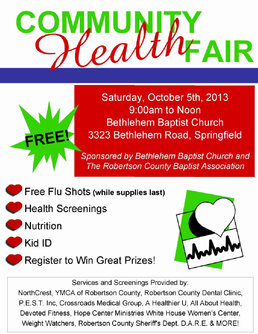 Free Munity Health Fair October 5th
