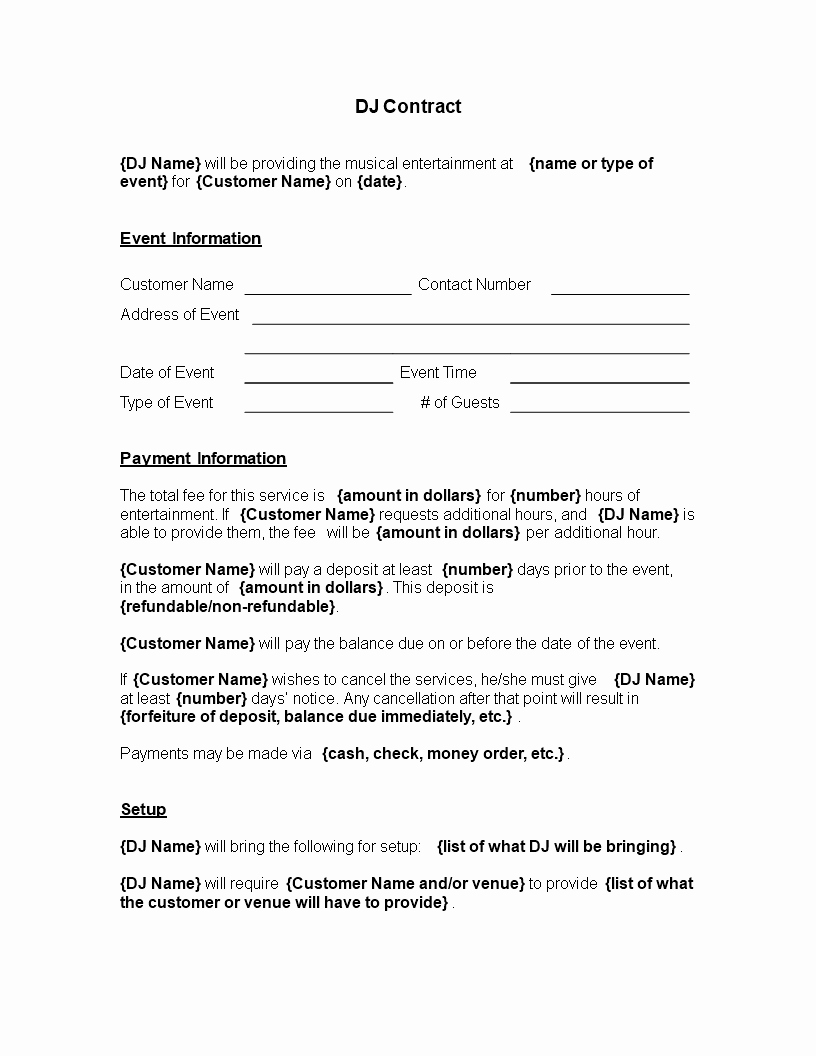 Free Musical Entertainment Contract