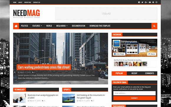 Free Needmag Blogger Template Responsive