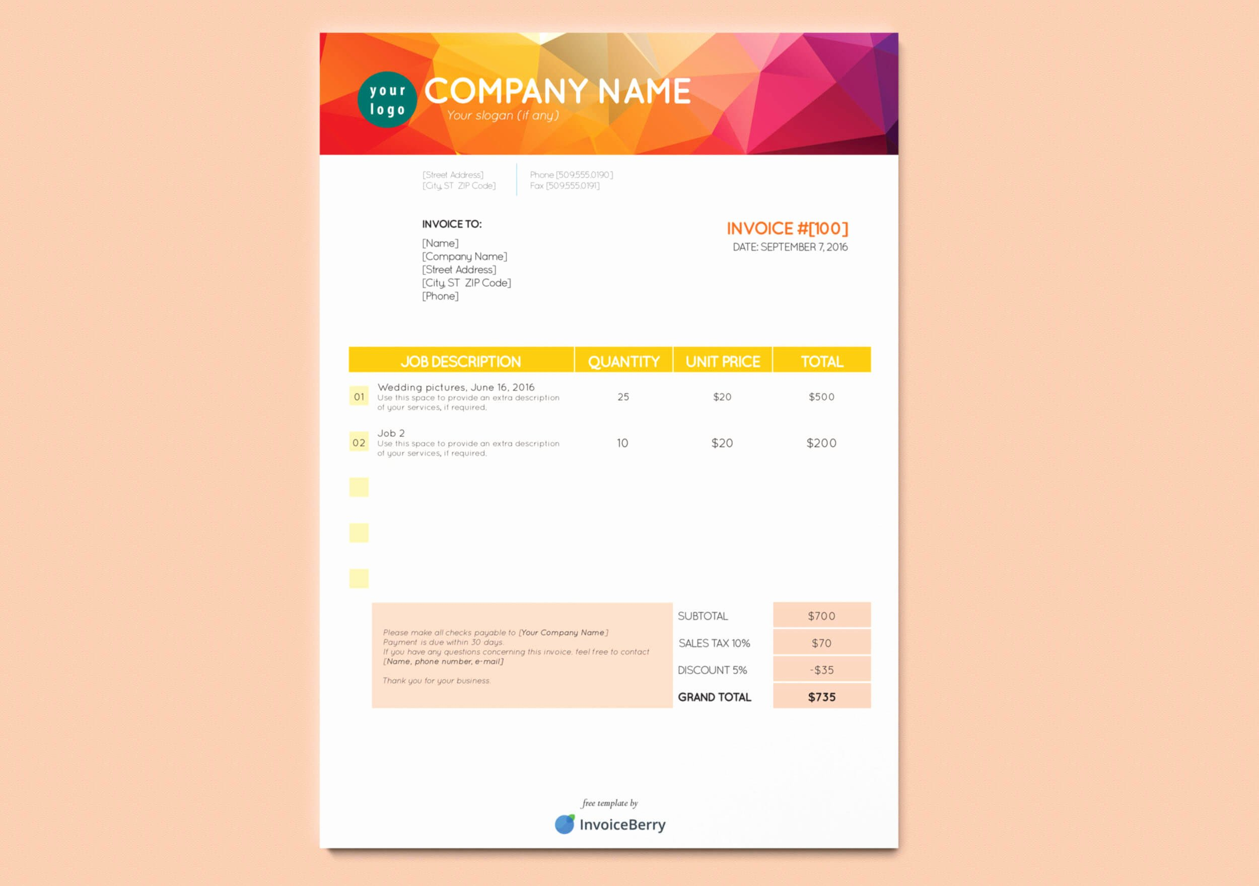Free New Indesign Invoice Templates