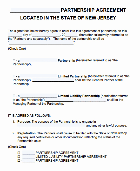 Free New Jersey Partnership Agreement Template Pdf