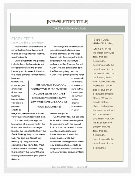 Free Newsletter Template – Microsoft Word Newsletter