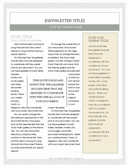 Free Newsletter Template – Microsoft Word Newsletter