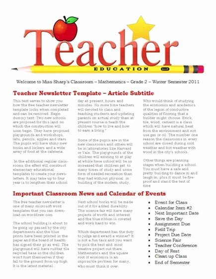 Free Newsletter Templates for Teaches and School