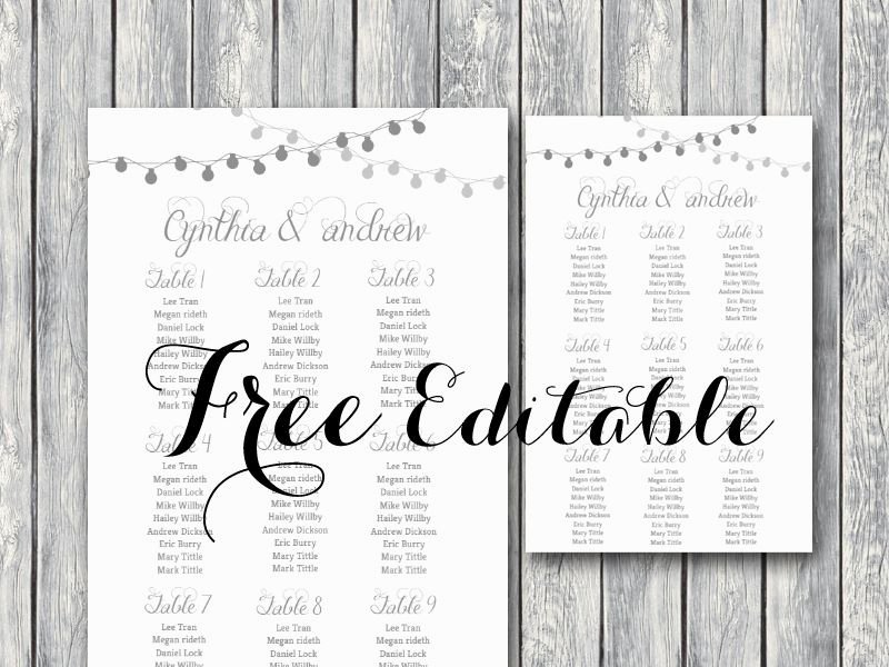 Free Night Light Wedding Chart Printable
