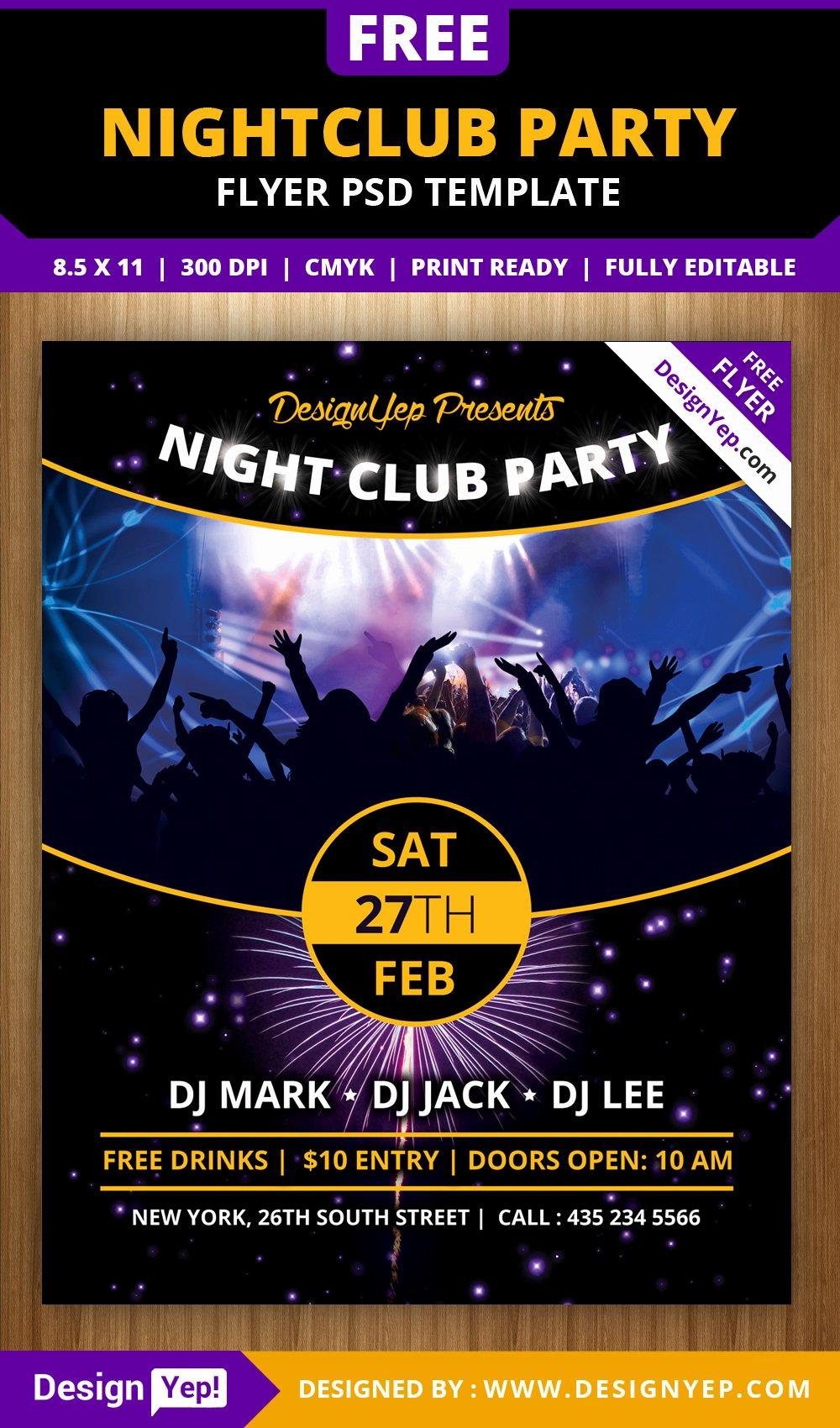 Free Nightclub Party Flyer Psd Template Designyep