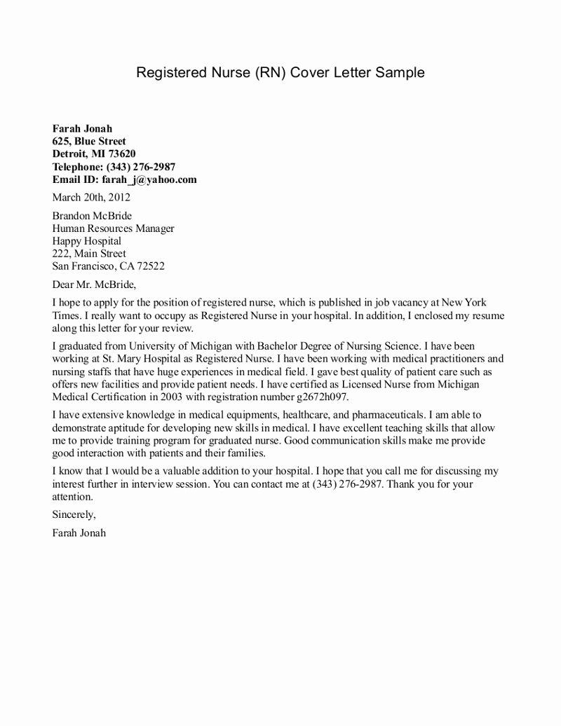 Free Nurse Practitioner Cover Letter Sample