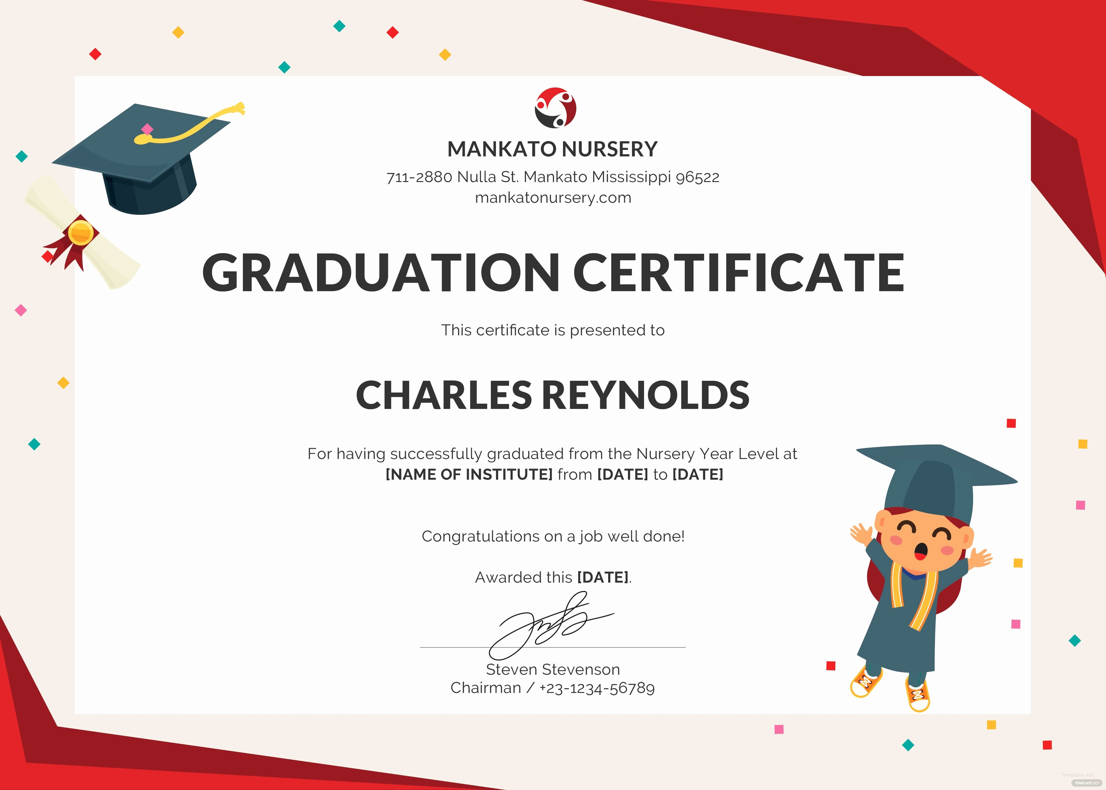 Free Nursery Graduation Certificate Template In Psd Ms