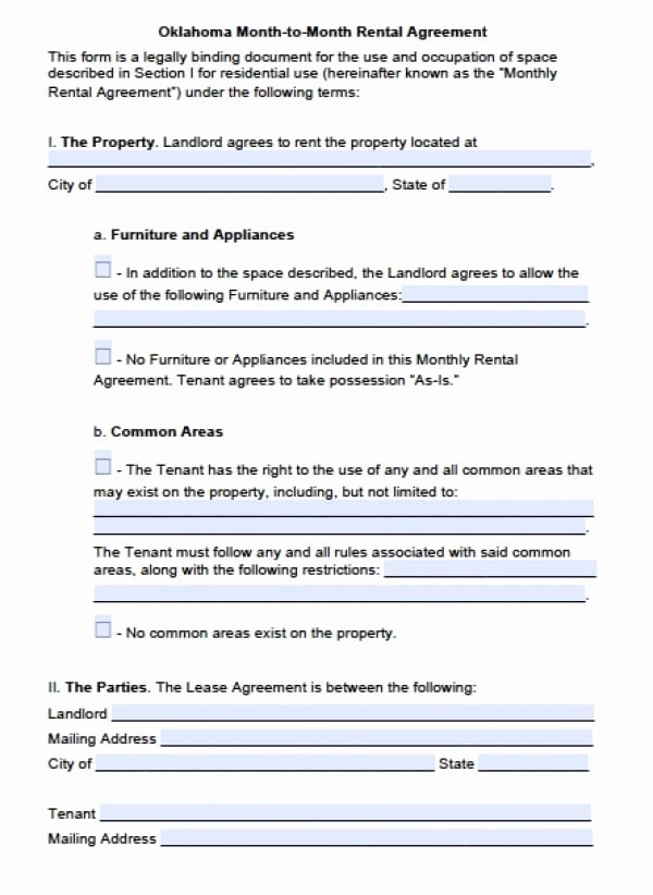 Free Oklahoma Month to Month Lease Agreement Pdf