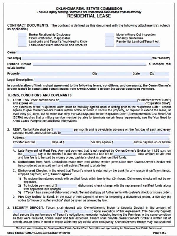 Free Oklahoma Standard E 1 Year Residential Lease Agreement Pdf