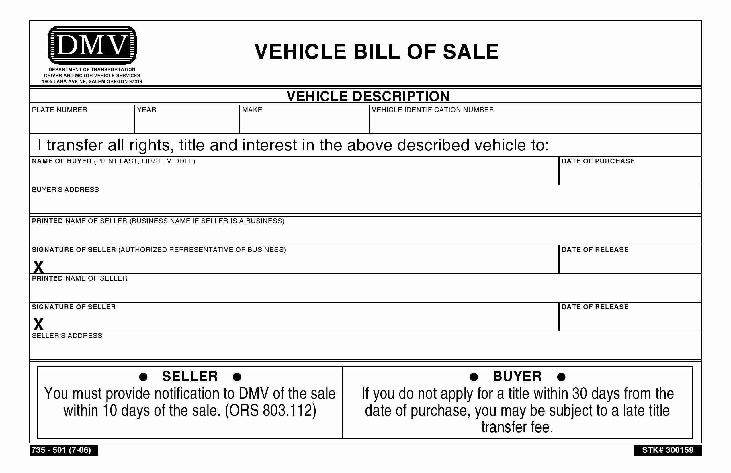 Free oregon Vehicle Bill Of Sale Pdf Word