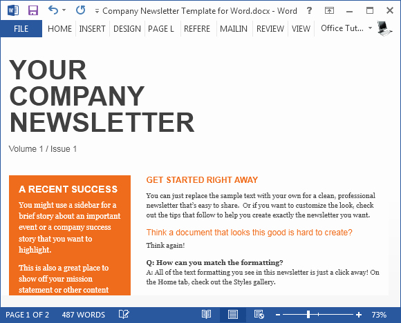Free Pany Newsletter Template for Word
