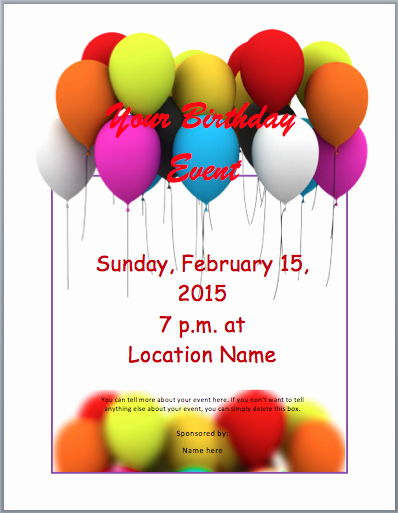 Free Party Flyer Templates for Microsoft Word Birthday