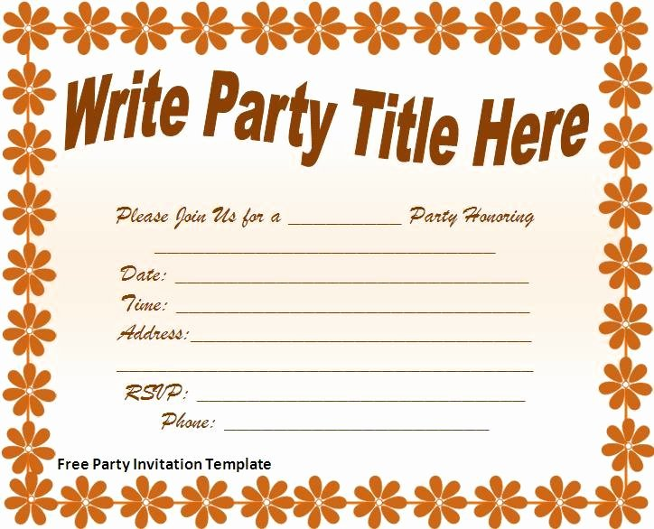 Free Party Invitations Template