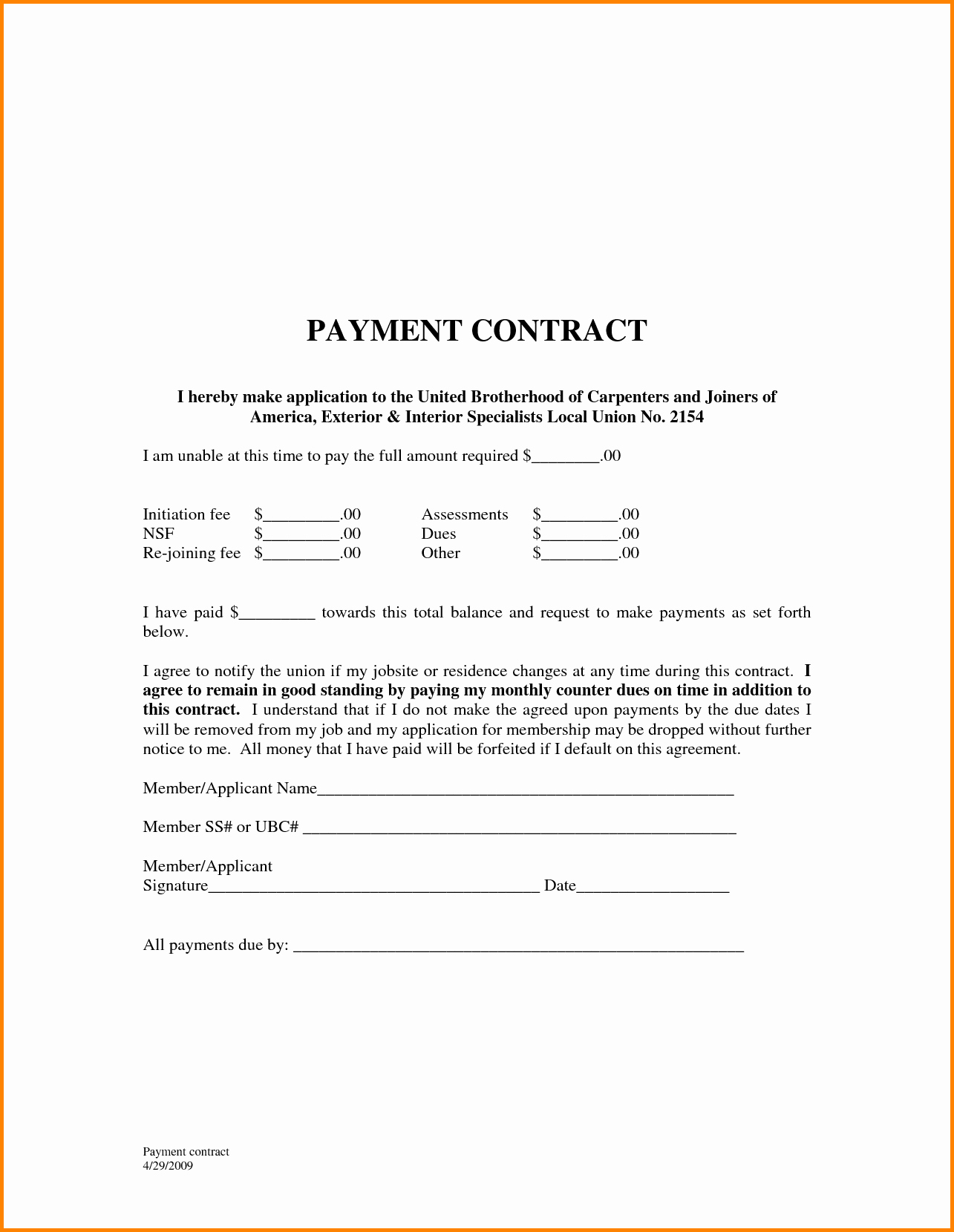 Free Payment Agreement Template Portablegasgrillweber