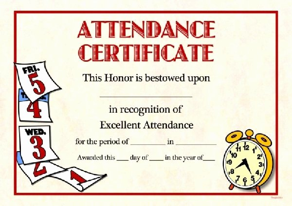 Free Perfect attendance Certificate Template Invitation