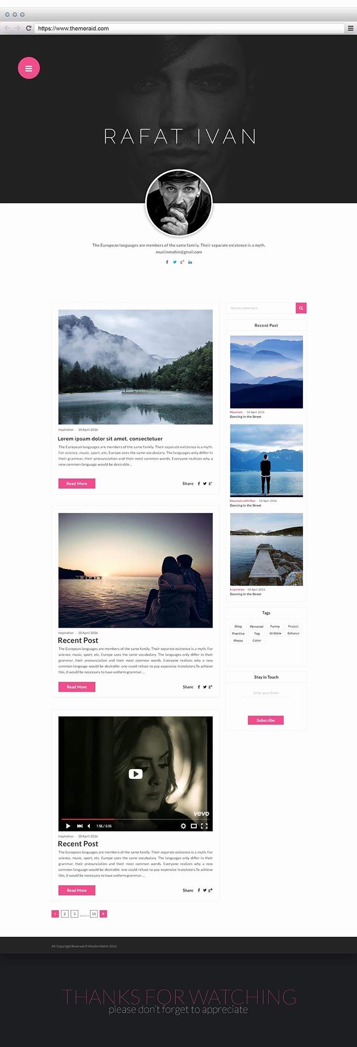 Free Personal Blog Website Template — Creativetacos