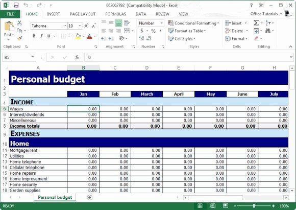 Free Personal Bud Planner Template for Excel
