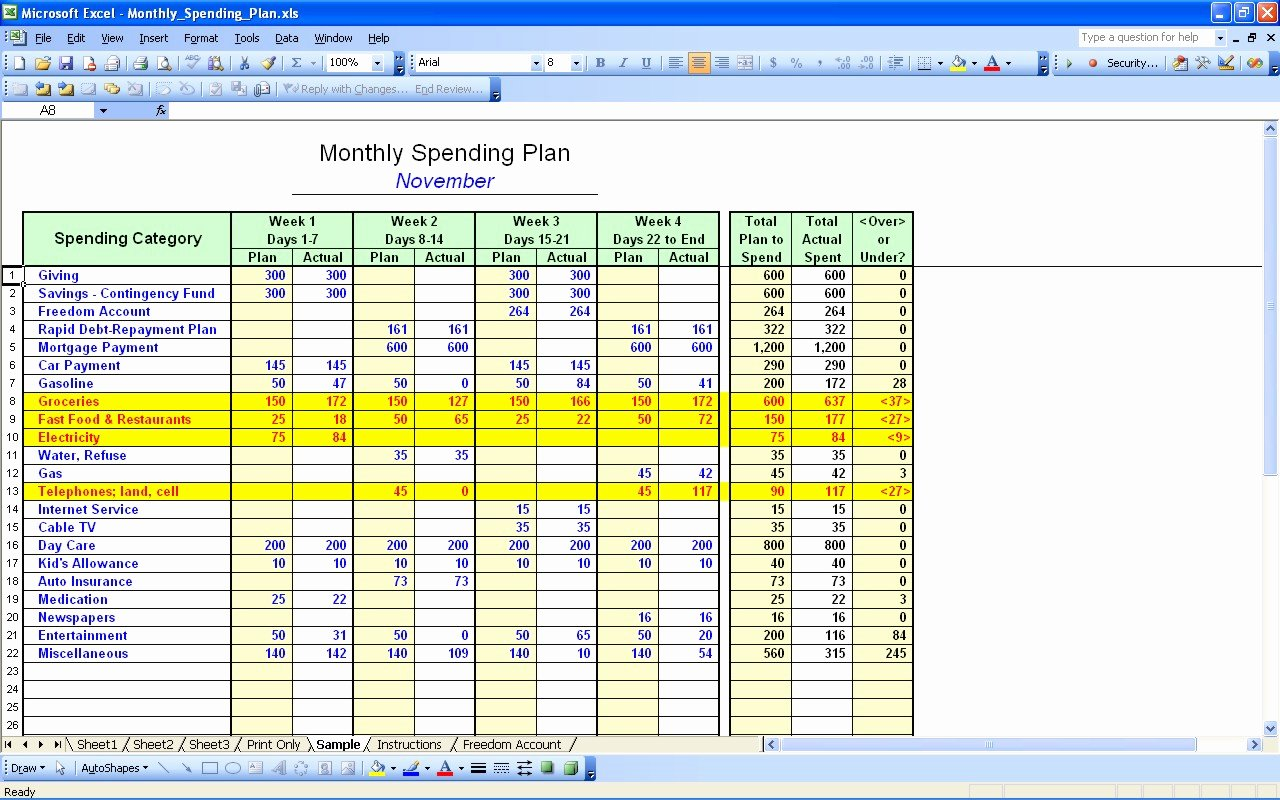 Free Personal Bud Spreadsheet Template Excel 5