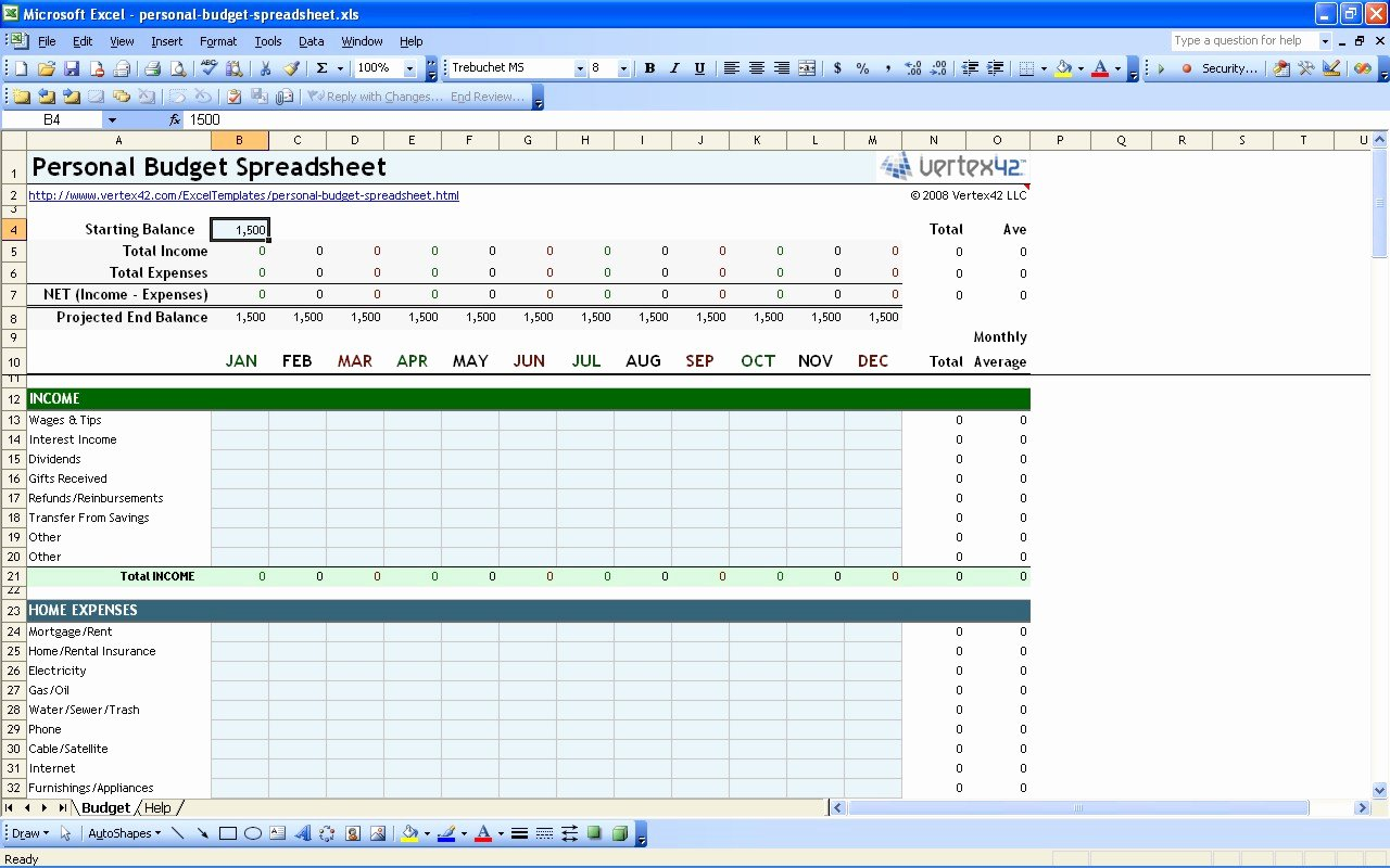 Free Personal Bud Spreadsheet Template Excel Monthly