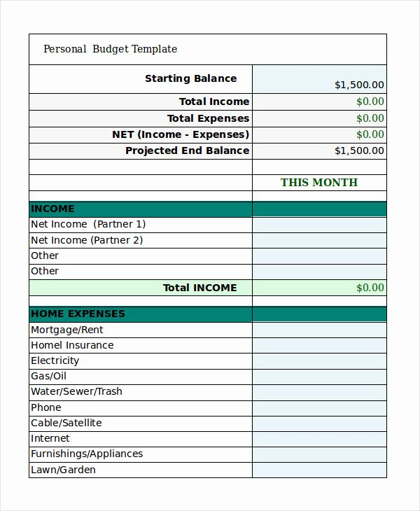Free Personal Bud Template 9 Free Excel Pdf