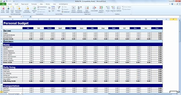 Free Personal Bud Template for Excel